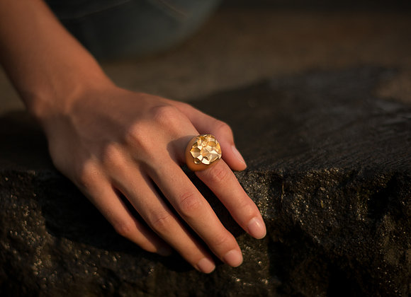 ROOK x GOLD ring on woman's hand rock
