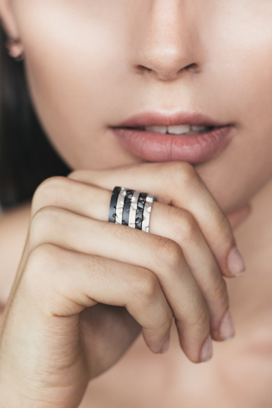 Tern Stacking Rings Silver and Black