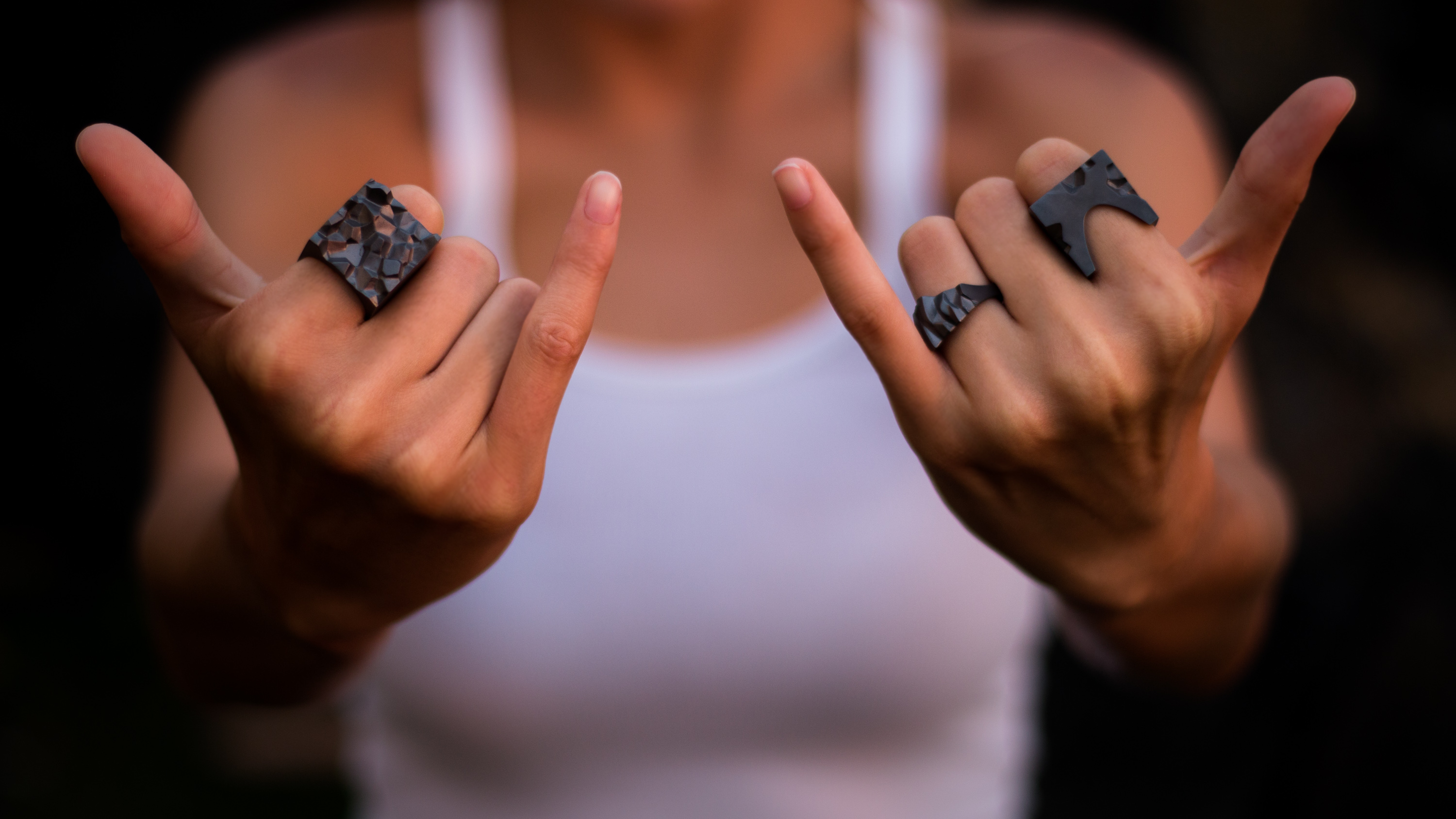 Woman wearing ore collection rings