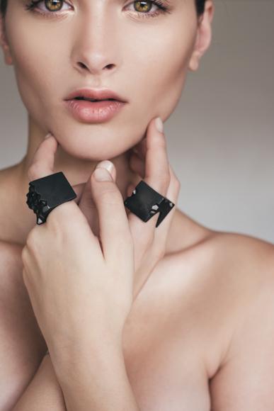 Flux Black Rhodium Ring Model wearable objects